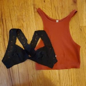 Free People black lace/rust ribbed bralette lot